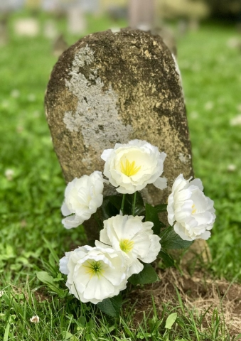 stone with flowers